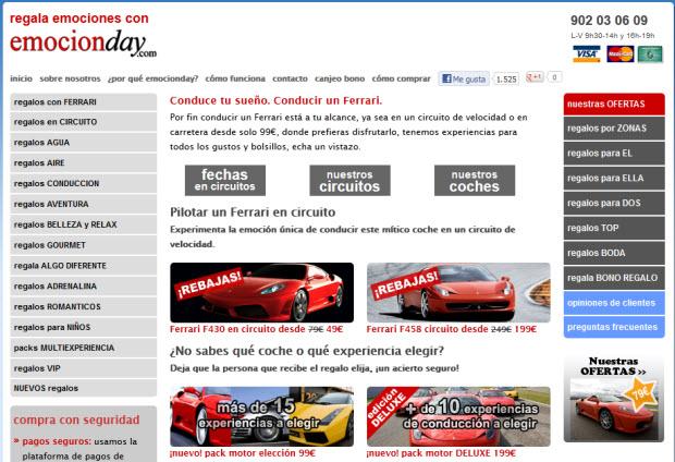 Regalar la experiencia de conducir un Ferrari