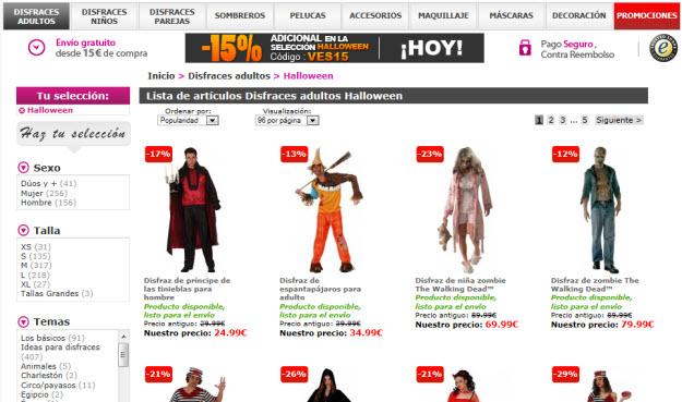 Regalar disfraces de Halloween en Vegaoo