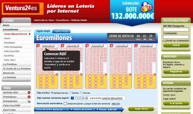 Jugar a Euromillones con Ventura24