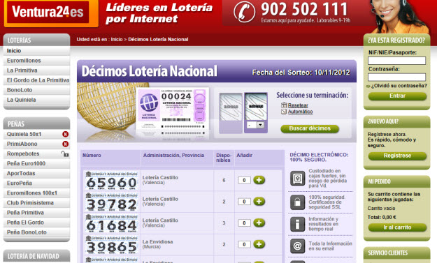 Jugar a la lotería en Ventura24