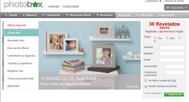 Revelar fotos baratos en Photobox