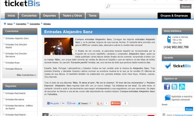 Regalar entradas para ver a Alejandro Sanz