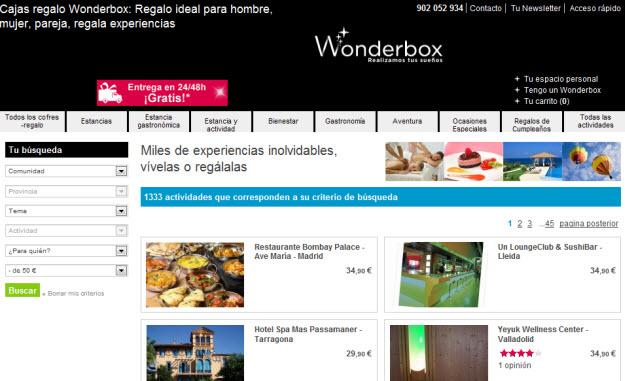 Cajitas de regalo baratas em Wonderbox