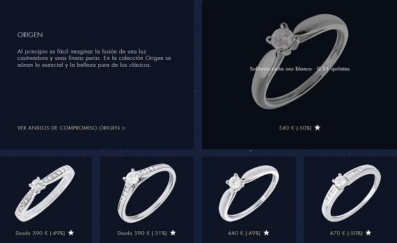anillos de pedida baratos