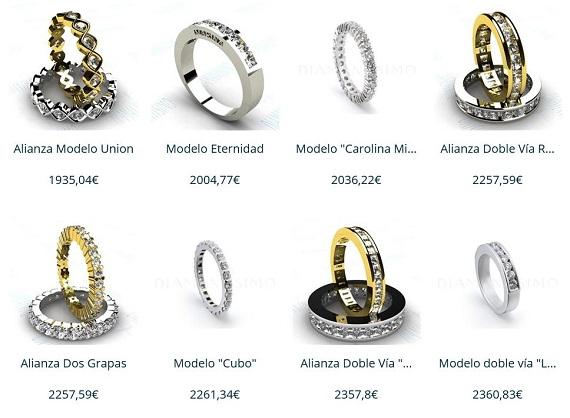 anillos de pedida con diamantes
